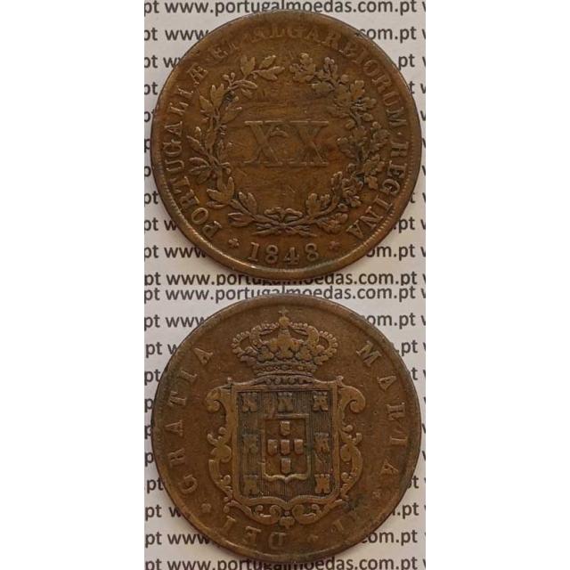 MOEDA XX REIS COBRE 1848 (MBC-) - D.MARIA II