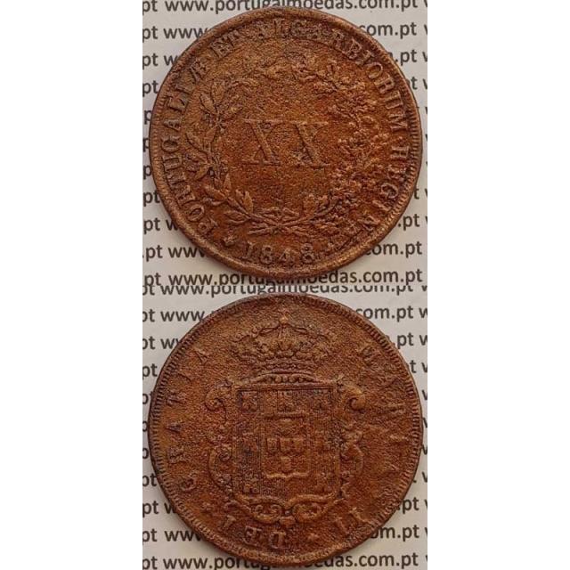 MOEDA XX REIS COBRE 1848 (BC+) - D.MARIA II