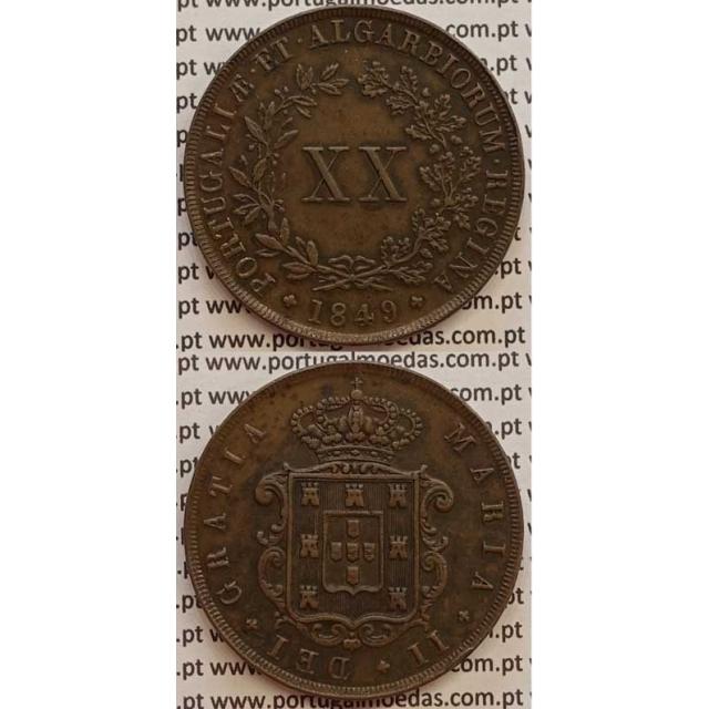 MOEDA XX REIS COBRE 1849 (MBC+/BELA) - D.MARIA II