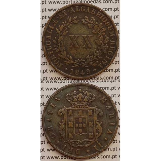 MOEDA XX REIS COBRE 1849 (MBC) - D.MARIA II