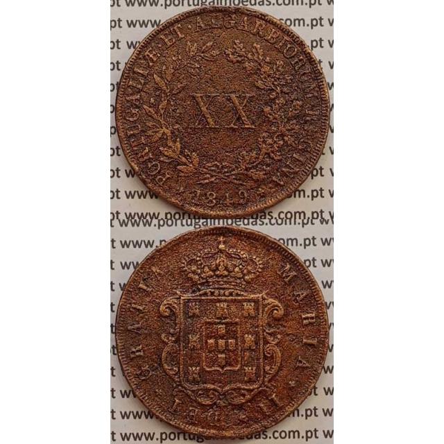 MOEDA XX REIS COBRE 1849 (BC) - D.MARIA II