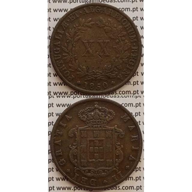 MOEDA XX REIS COBRE 1850 (MBC) - D.MARIA II