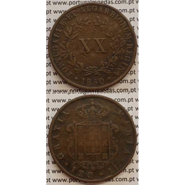 MOEDA XX REIS COBRE 1850 (BC) - D.MARIA II