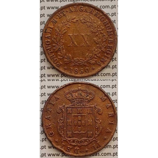 MOEDA XX REIS COBRE 1850 (BC+) - D.MARIA II