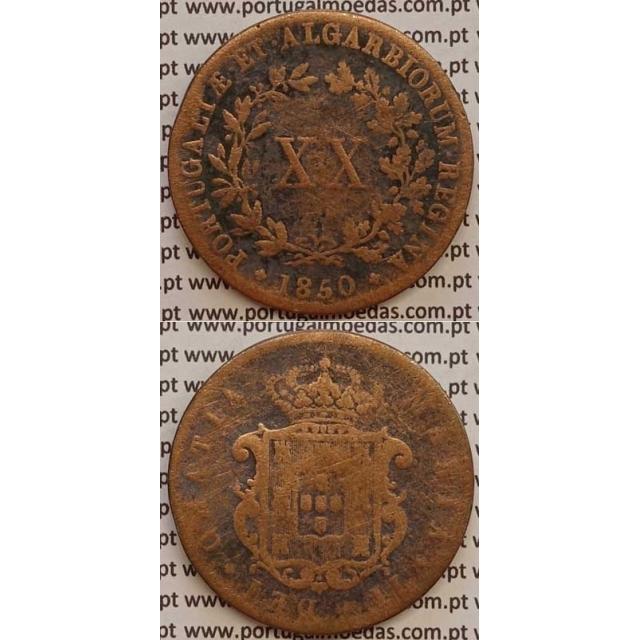 MOEDA XX REIS COBRE 1850 (BC-) - D.MARIA II