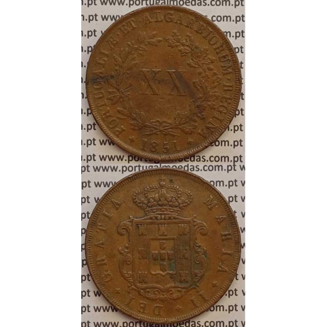 MOEDA XX REIS COBRE 1851 (MBC) - D.MARIA II