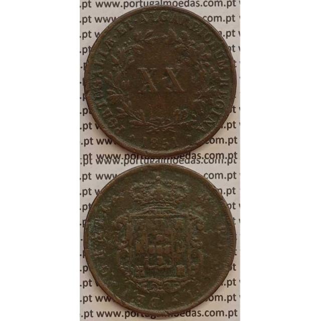 MOEDA XX REIS COBRE 1851 (MBC-) - D.MARIA II