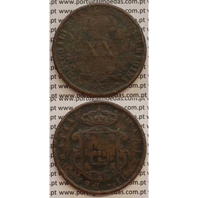MOEDA XX REIS COBRE 1851 (BC-) - D.MARIA II