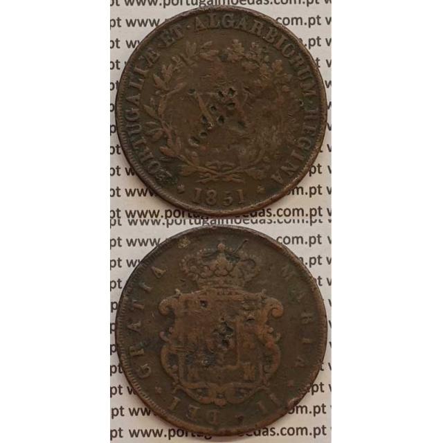 MOEDA XX REIS COBRE 1851 (BC) - D.MARIA II