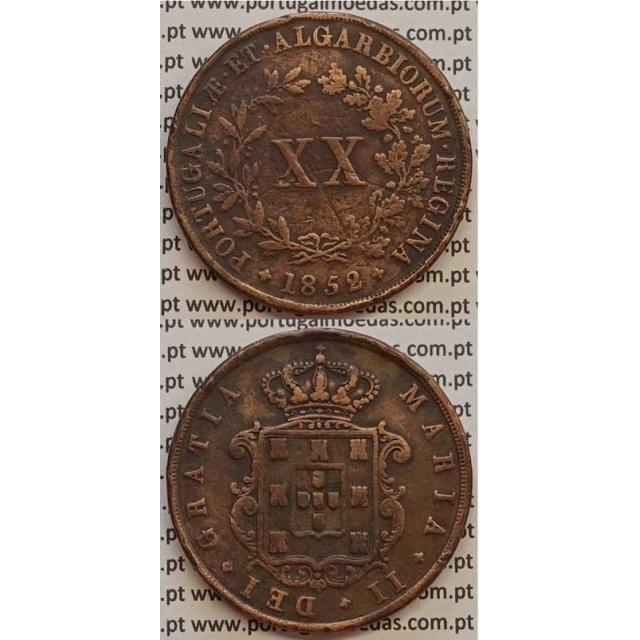MOEDA XX REIS COBRE 1852 (MBC) - D.MARIA II