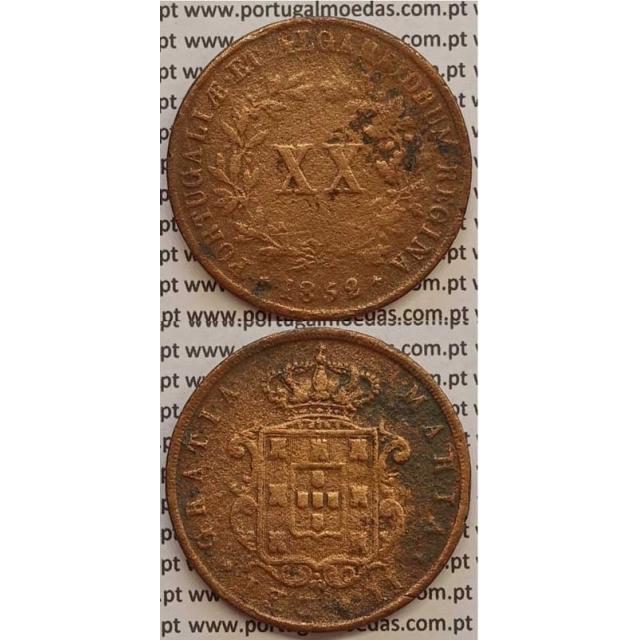 MOEDA XX REIS COBRE 1852 (BC+) - D.MARIA II