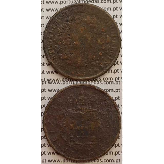 MOEDA XX REIS COBRE 1852 (BC-/REG) - D.MARIA II