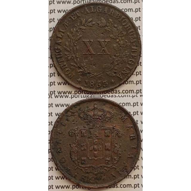 MOEDA XX REIS COBRE 1853 (MBC-) - D.MARIA II