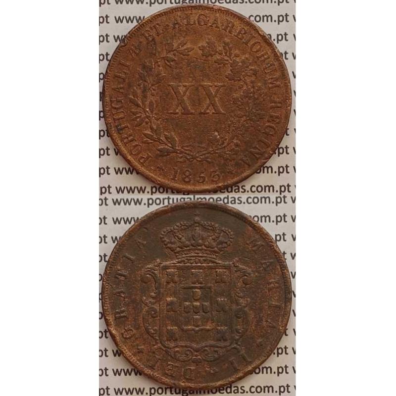 MOEDA XX REIS COBRE 1853 (BC+/MBC-) - D.MARIA II