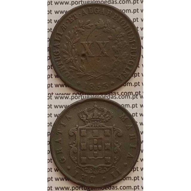MOEDA XX REIS COBRE 1853 (BC+) - D.MARIA II