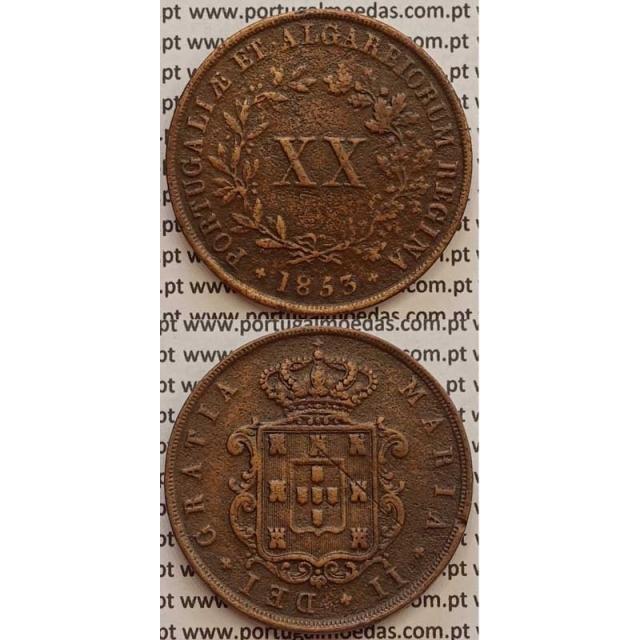 MOEDA XX REIS COBRE 1853 (MBC) - D.MARIA II