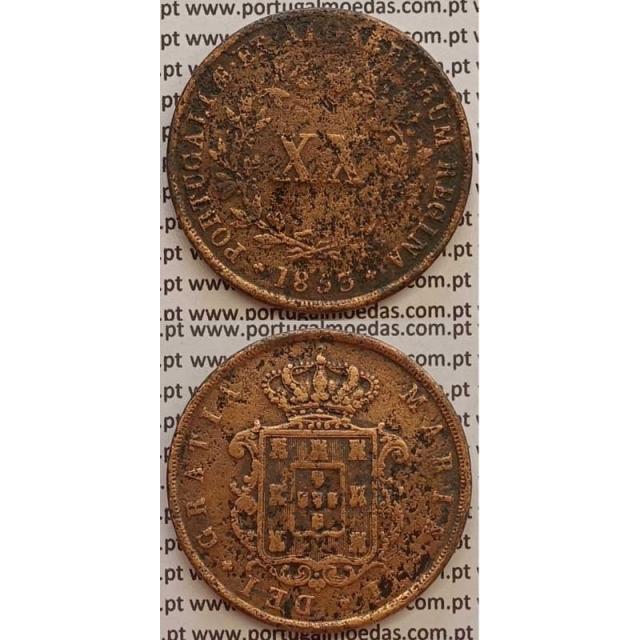 MOEDA XX REIS COBRE 1853 (BC) - D.MARIA II