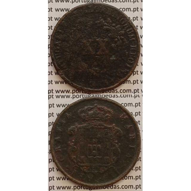 MOEDA XX REIS COBRE 1853 (BC-) - D.MARIA II