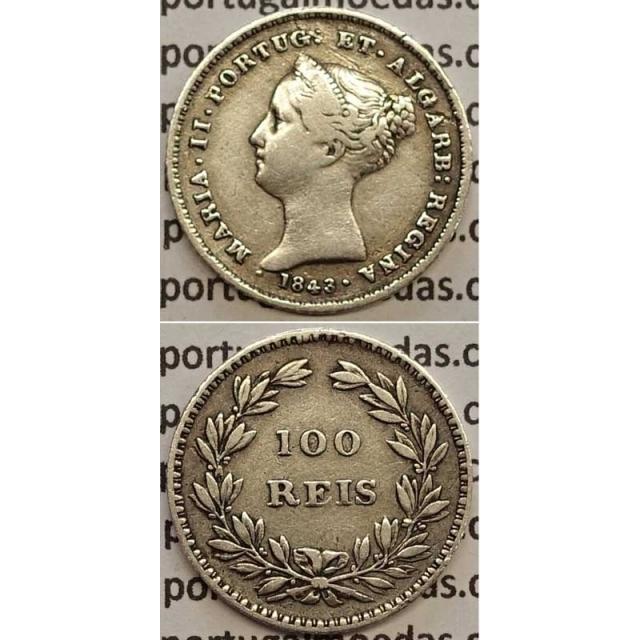 MOEDA 100 REIS PRATA 1843 (MBC) - DATA EMENDADA - D. MARIA II