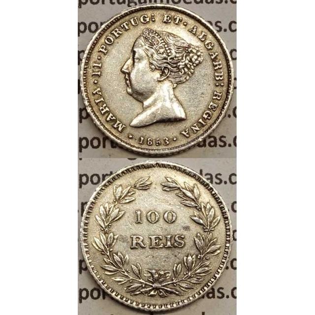 MOEDA 100 REIS PRATA 1853 (BELA) - D. MARIA II
