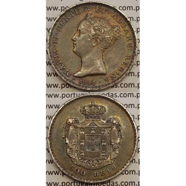 MOEDA 500 REIS PRATA 1841 (MBC) - D.MARIA II