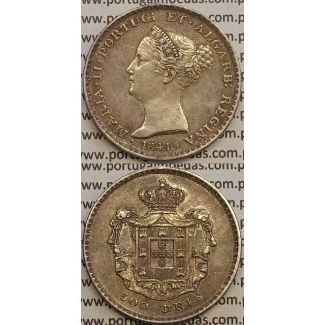 MOEDA 500 REIS PRATA 1841 (MBC+/BELA) - D.MARIA II