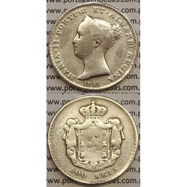 MOEDA 500 REIS PRATA 1841 (BC-) - D.MARIA II