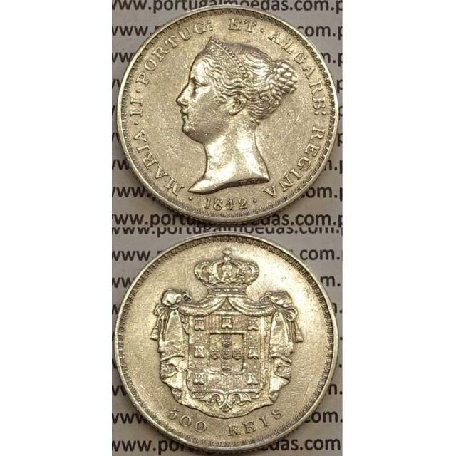 MOEDA DE 500 REIS PRATA 1842 (MBC+/BELA) - D. MARIA II