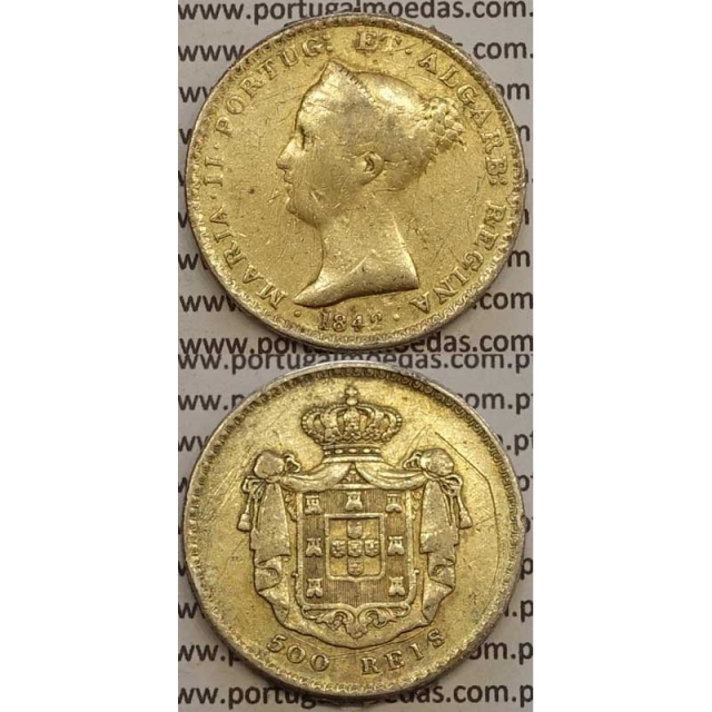 MOEDA DE 500 REIS PRATA 1842 (REG) - C/ BANHO DE OURO - D. MARIA II