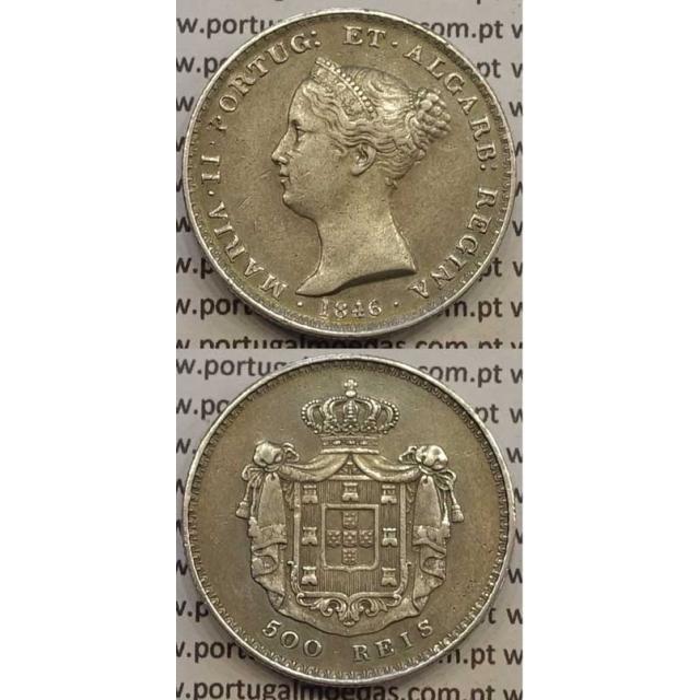 MOEDA DE 500 REIS PRATA 1846 (MBC+/BELA) - D.MARIA II