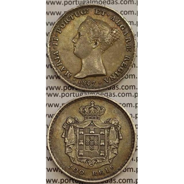 MOEDA 500 REIS PRATA 1847 (MBC+/BELA) - D.MARIA II