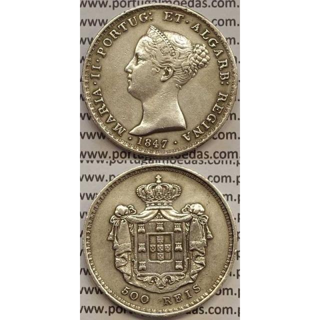 MOEDA 500 REIS PRATA 1847 (MBC+) - D.MARIA II