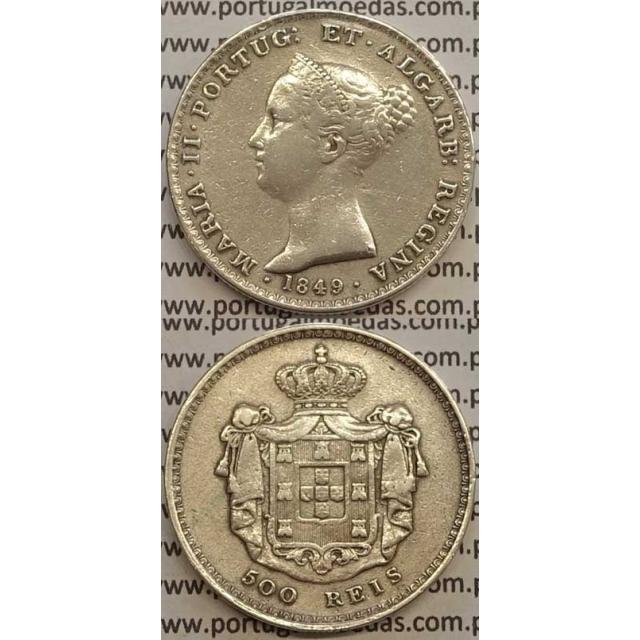 MOEDA 500 REIS PRATA 1849 (MBC) - D.MARIA II