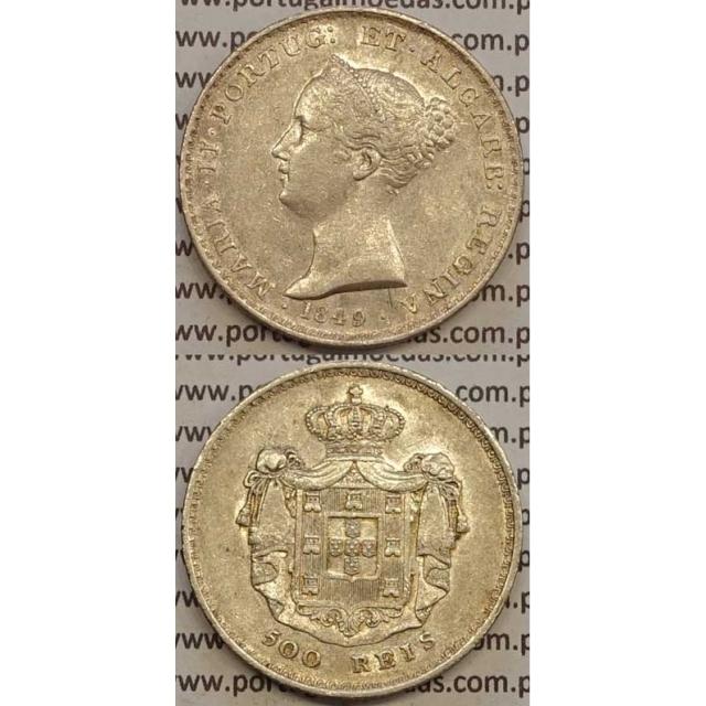 MOEDA 500 REIS PRATA 1849 (MBC+/BELA) - D.MARIA II