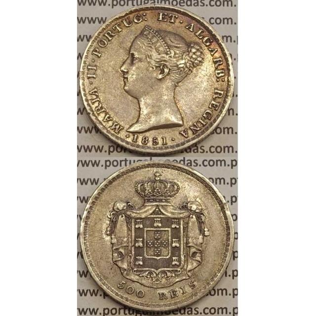 MOEDA 500 REIS PRATA 1851 (MBC+) - D.MARIA II