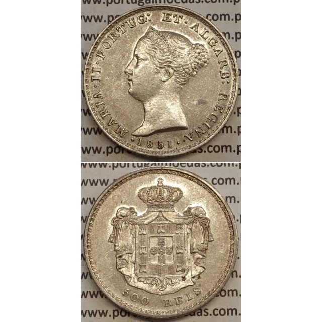 MOEDA 500 REIS PRATA 1851 (BELA) - D.MARIA II