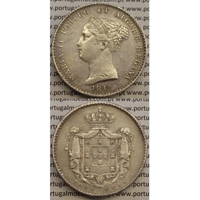 MOEDA 1000 REIS PRATA 1845 (MBC) - D.MARIA II