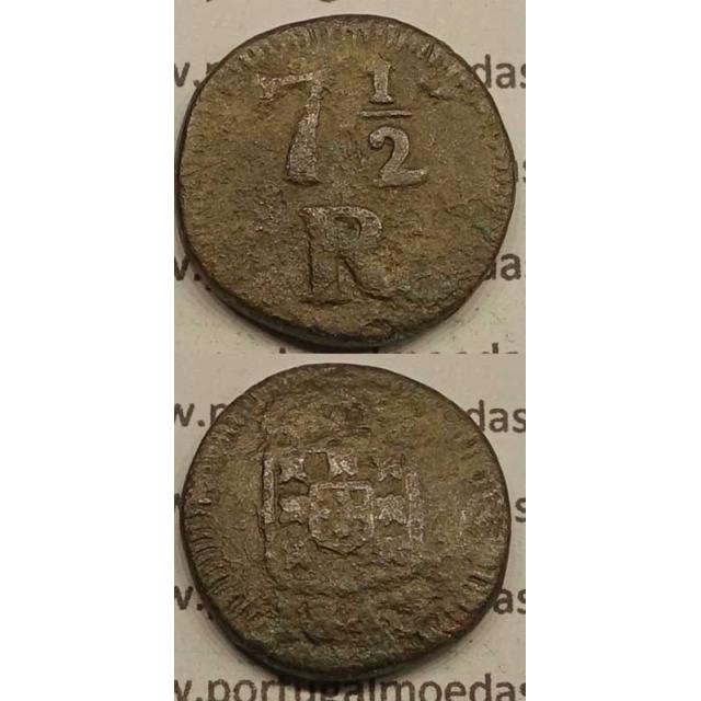 7 1/2 REIS COBRE 1845 INDIA - D. MARIA II