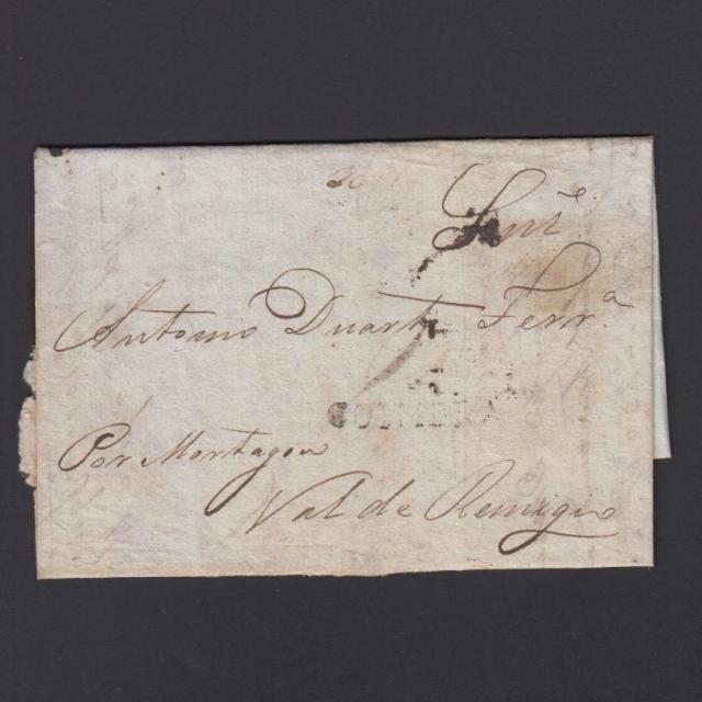 Pré-Filatélica circulada de Coimbra para Vale Remígio datada de 19-04-1834
