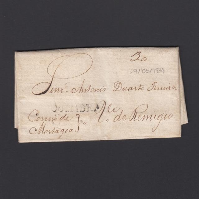 Pré-Filatélica circulada de Coimbra para Vale Remígio datada de 29-05-1834