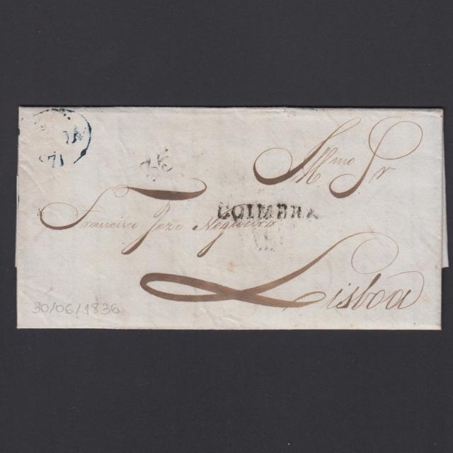 Pré-Filatélica circulada de Coimbra para Lisboa datada de 30-06-1836