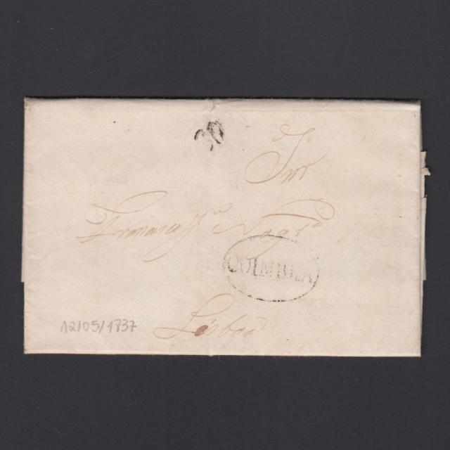 Pré-Filatélica circulada de Coimbra para Lisboa datada de 12-03-1837