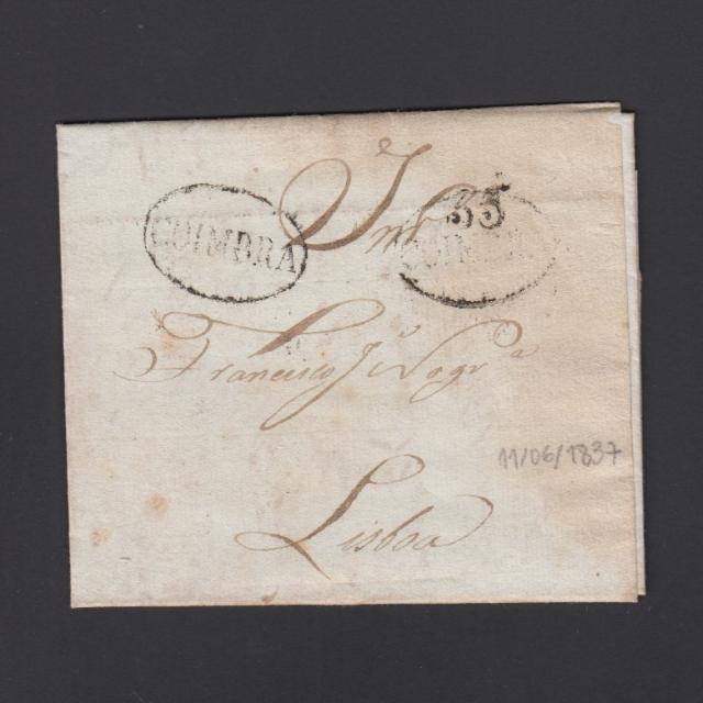 Pré-Filatélica circulada de Coimbra para Lisboa datada de 11-06-1837