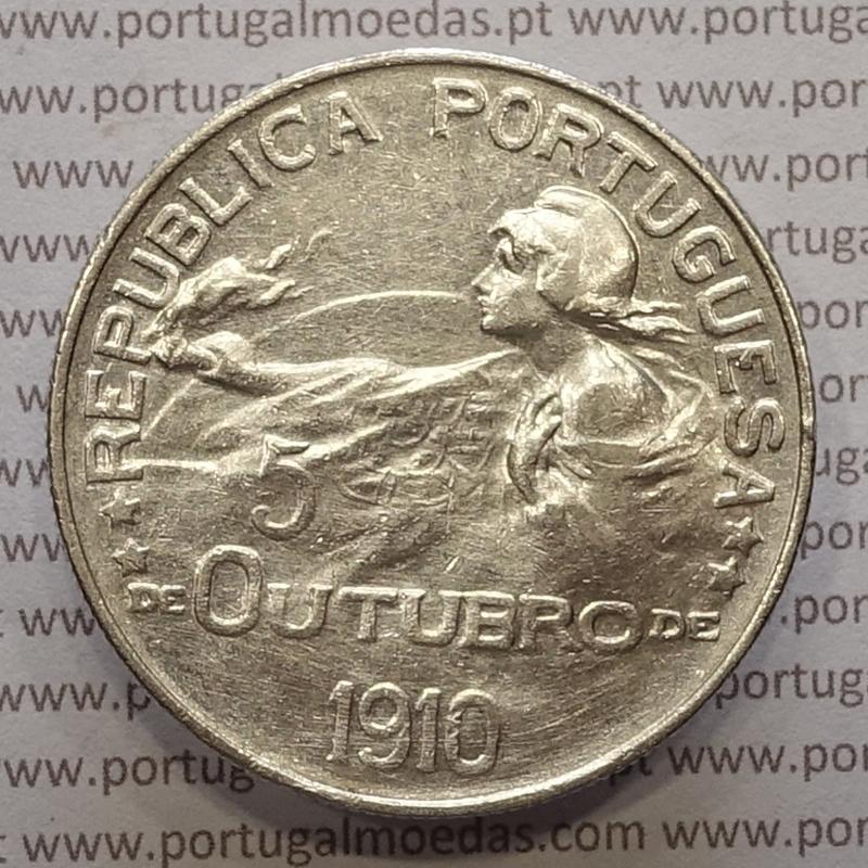 """MOEDA DE UM ESCUDO (1$00) 1914 PRATA """"5 OUTUBRO 1910"""" MBC"""