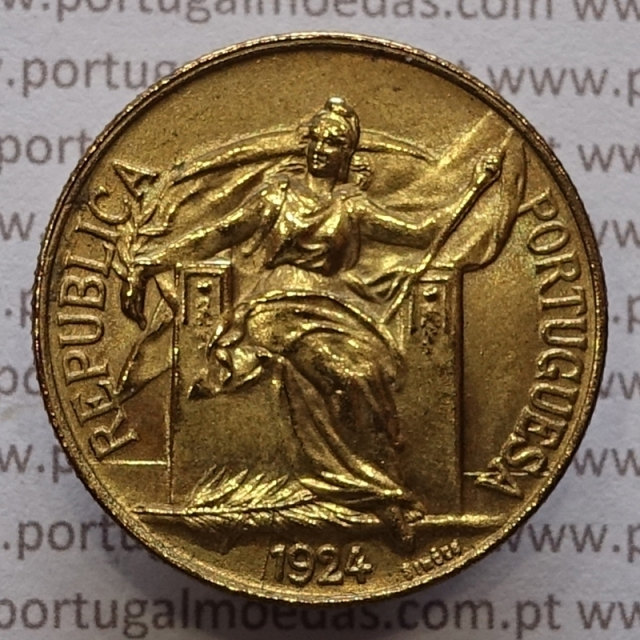 MOEDA DE UM ESCUDO (1$00) BRONZE ALUMÍNIO 1924 BELA
