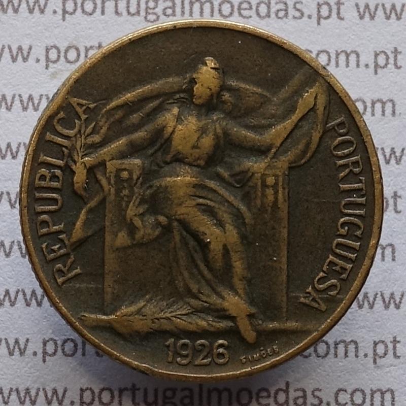1 Escudo 1926 Bronze-Alumínio, (1$00 escudo 1926), MBC, World Coins krause Portugal KM 576