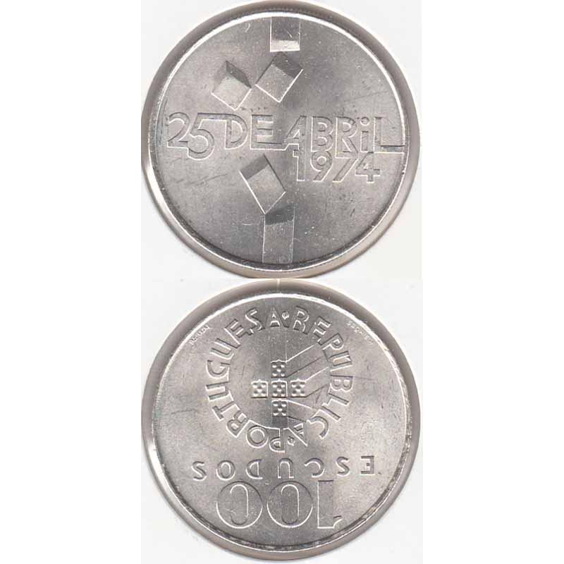 100 Escudos prata 25 Abril 1974, moeda 100$00 prata 1977 comemorativa do 25 de Abril 1974, (Bela), World Coins - Portugal KM 603