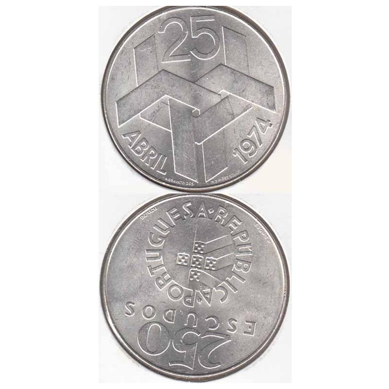 250 Escudos prata 25 Abril 1974, 250$00 prata 1977 comemorativa do 25 de Abril 1974, (Bela), World Coins - Portugal KM 604