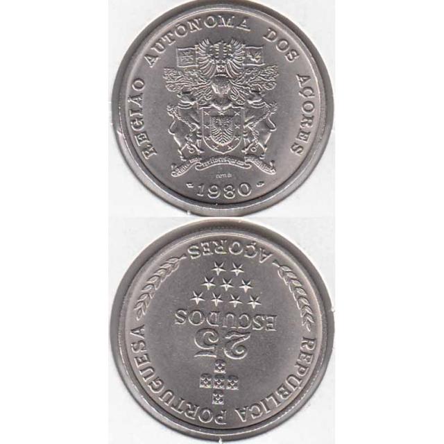 "25$00 CUPRO-NÍQUEL 1980 ""AÇORES"" (BELA/SOB)"