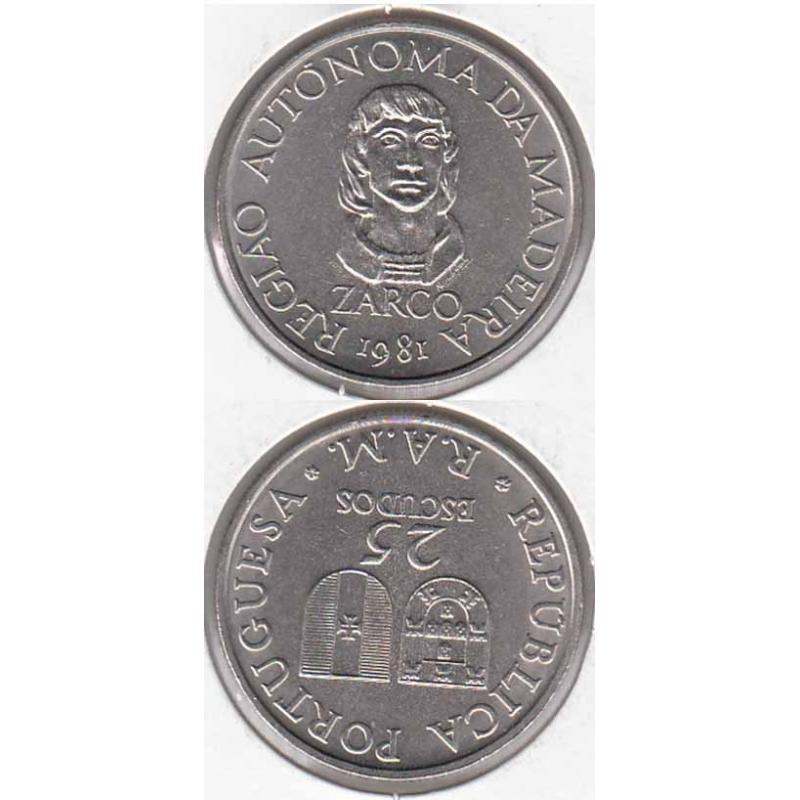 "25$00 CUPRO-NÍQUEL 1981 ""MADEIRA"" (BELA/SOB)"